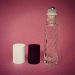 Swirl Glass Metal Roll-On Bottle (Black Cap)