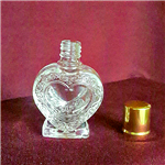 Heart Bottle w/Screw on Gold Cap